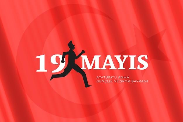 Градиентная турецкая память ататюрка, иллюстрация дня молодежи и спорта