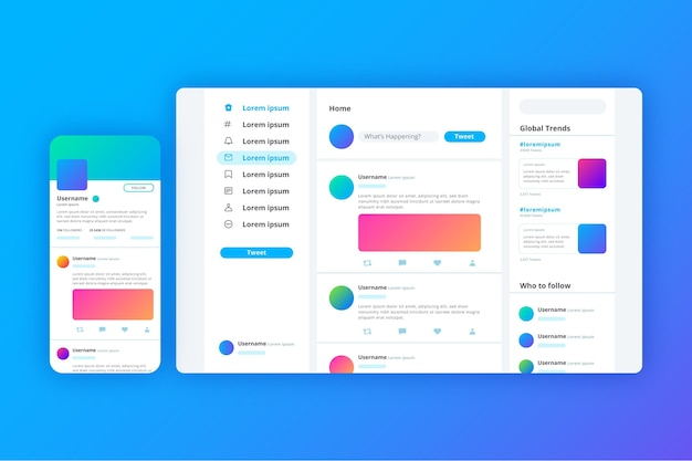 Gradient twitter interface template