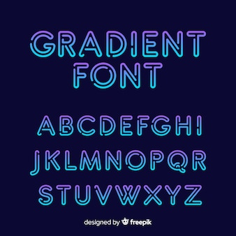 Gradient typography alphabet template