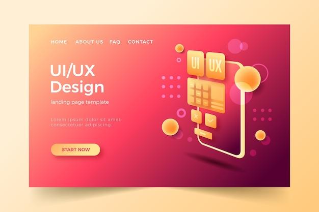 Modello di pagina di destinazione gradiente ui/ux