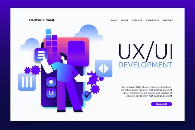Шаблон целевой страницы градиентного ui / ux