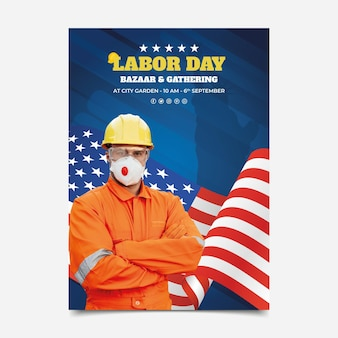 Gradient usa labor day vertical flyer template with photo