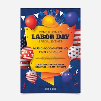 Gradient usa labor day vertical flyer template