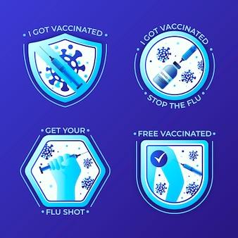 Collezione di badge campagna di vaccinazione gradiente
