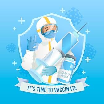 그라데이션 예방 접종 캠페인 삽화