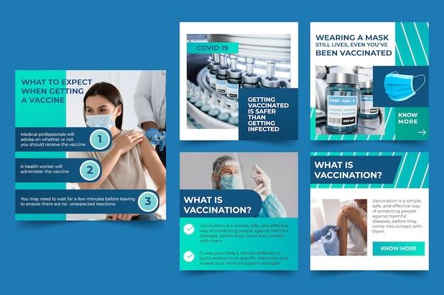 Raccolta di post su instagram con vaccino sfumato con foto