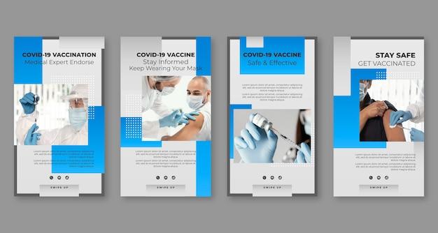 Raccolta di storie di instagram con vaccini sfumati con foto