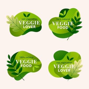 Set di badge vegetariani sfumati
