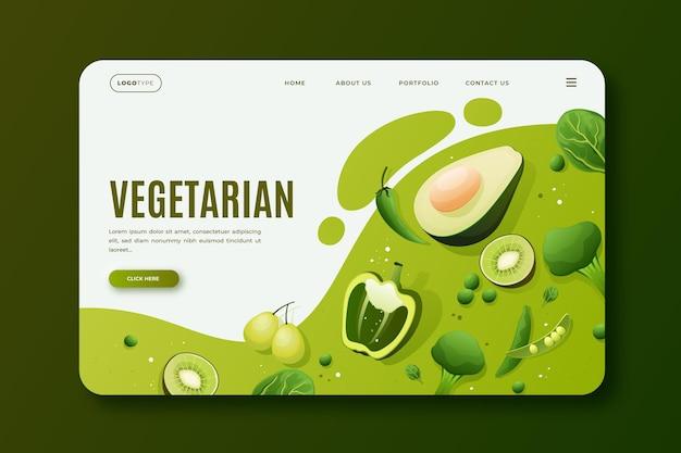 Modello di pagina di destinazione del cibo vegetariano sfumato