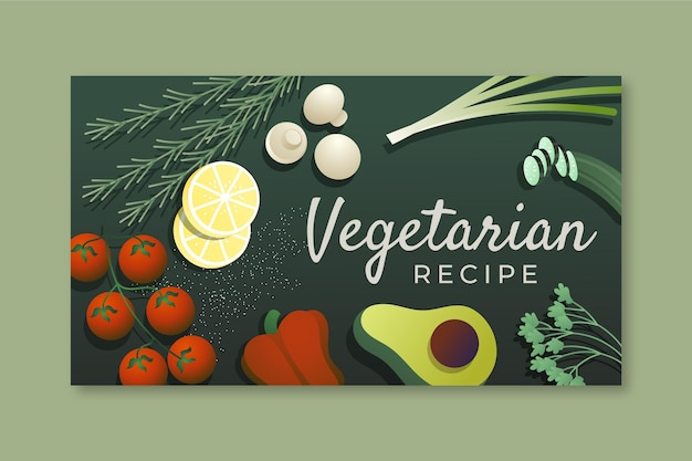 Miniatura di youtube con cibo vegetariano sfumato