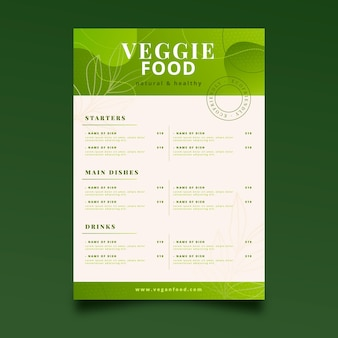 Modello di menu vegetariano sfumato