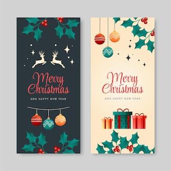 Gradient vertical christmas banners set