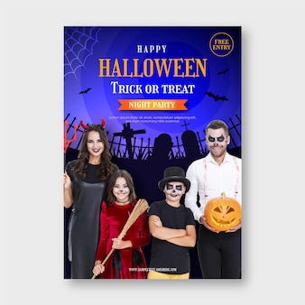 Gradient vertical halloween party flyer template with photo