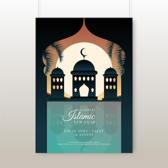 Gradient vertical islamic new year poster template