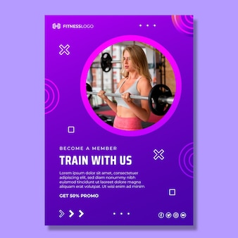 Gradient vertical poster template for gym training
