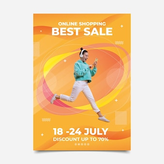 Gradient vertical sale poster template with photo