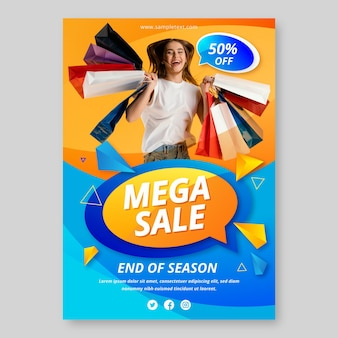 Gradient vertical sale poster template with photo Free Vector