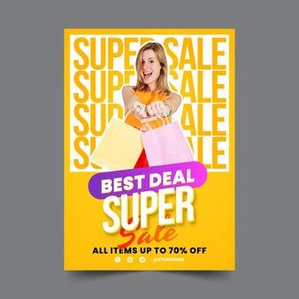 Шаблон градиента вертикальной продажи плаката с фотографией