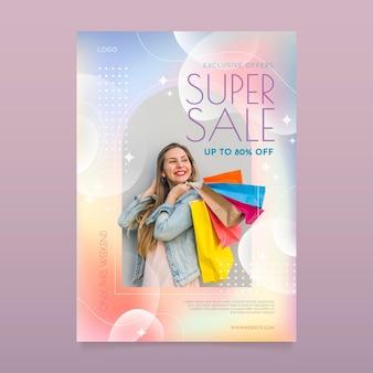 사진이 있는 그라데이션 세로 판매 포스터 템플릿