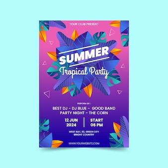 Шаблон плаката градиентной вертикальной летней вечеринки