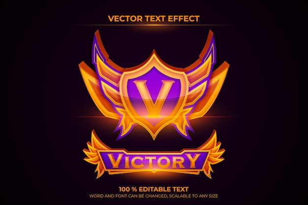 Gradient victory esport game badge team with editable text
