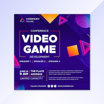 Gradient video game flyer template