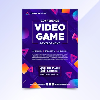 Gradient video game poster template