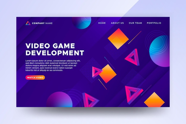 그라데이션 비디오 게임 웹 템플릿