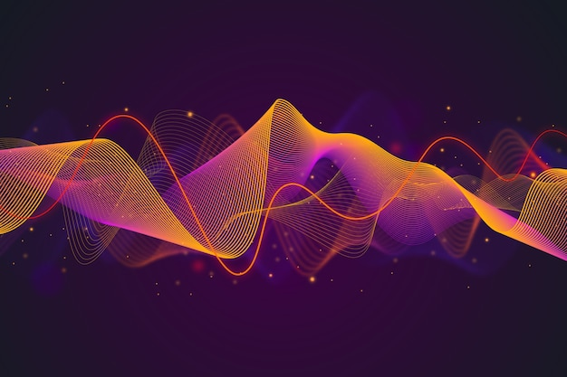 グラデーションバイオレットとオレンジのイコライザー波背景