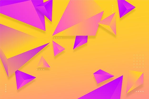 Градиент фиолетовый и оранжевый треугольник фон с яркими цветами
