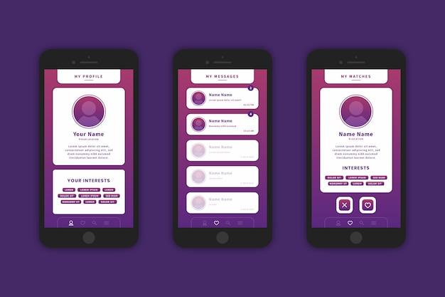 グラデーションバイオレットの出会い系アプリのインターフェース