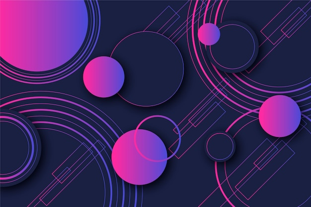 Gradient violet dots and circles geometric shapes on dark background
