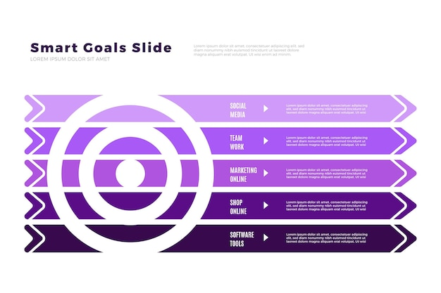 Gradient violet goals infographic