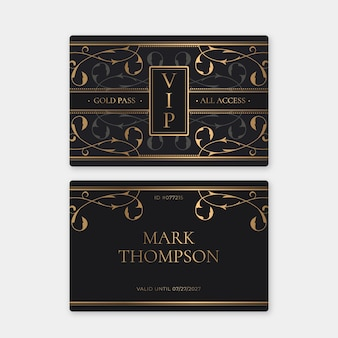 Gradient vip card template with gold details