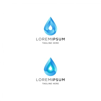 Gradient water drop logo with abstract shape
