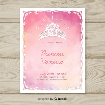 Gradient watercolor princess party invitation template