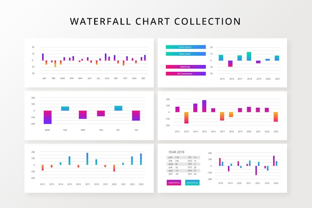 Градиентный водопад инфографики шаблон
