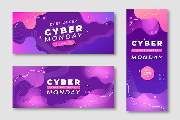 Set di banner cyber lunedì ondulati sfumati