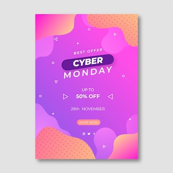 Gradient wavy cyber monday vertical poster template
