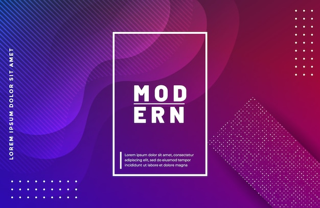 Gradient wavy shape background with geometric shapes