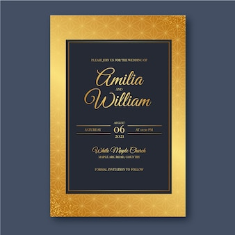 Gradient wedding invitation template