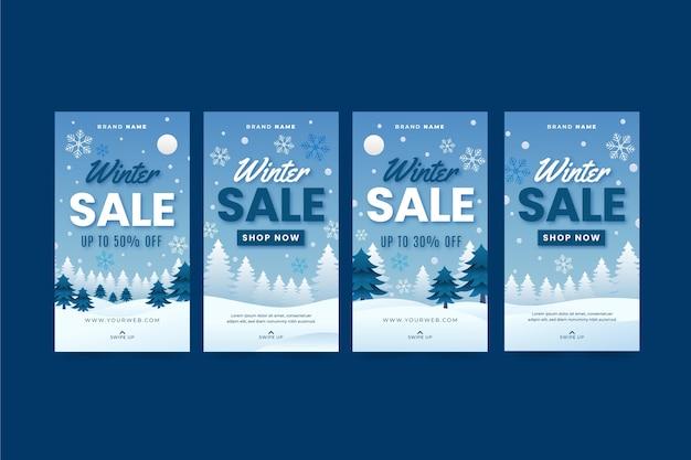 Gradient winter sale instagram stories collection