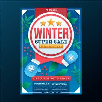 Градиент зимняя распродажа вертикальный шаблон плаката