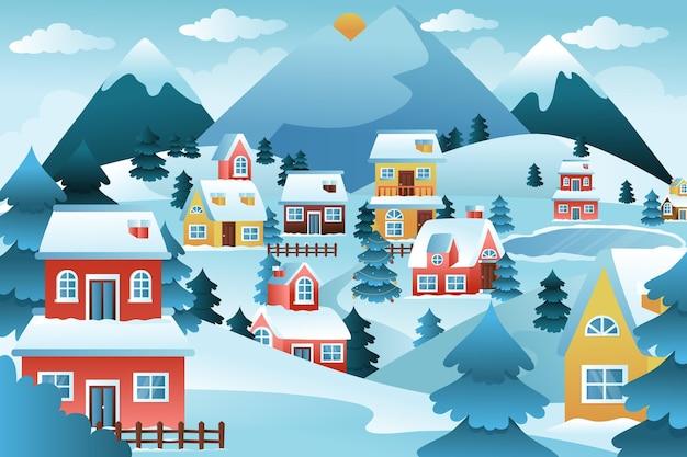 Градиент зимняя деревня иллюстрация