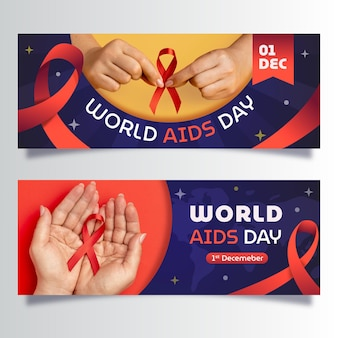 Set di banner orizzontali per la giornata mondiale dell'aids gradiente