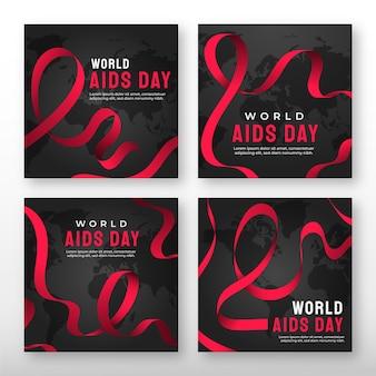 Raccolta di post su instagram per la giornata mondiale dell'aids di gradiente