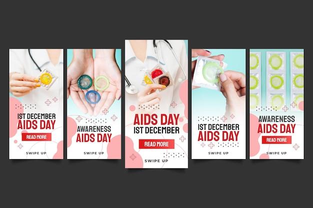 Raccolta di storie su instagram per la giornata mondiale dell'aids di gradiente