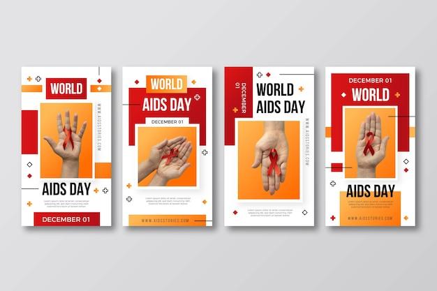 Gradient world aids day instagram stories collection