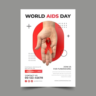 Gradient world aids day vertical poster template