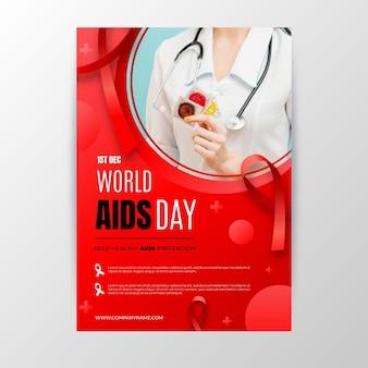 Шаблон вертикального плаката градиентный всемирный день борьбы со спидом